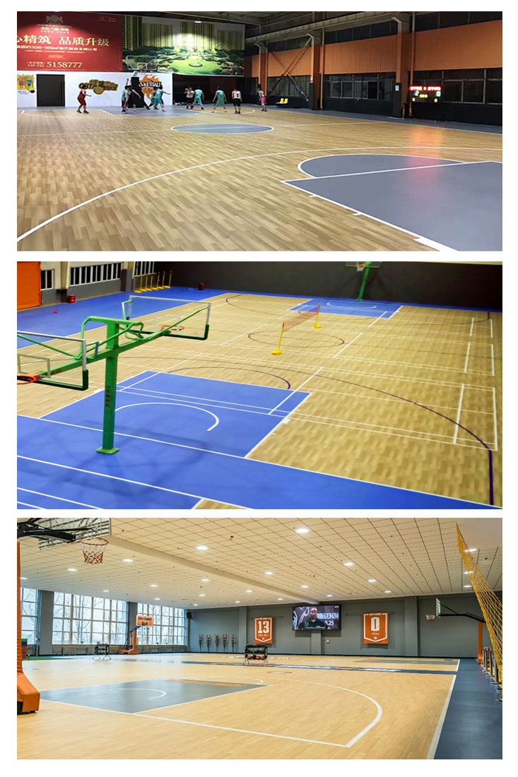 Vinly roll PVC basketball court floor plastic wood